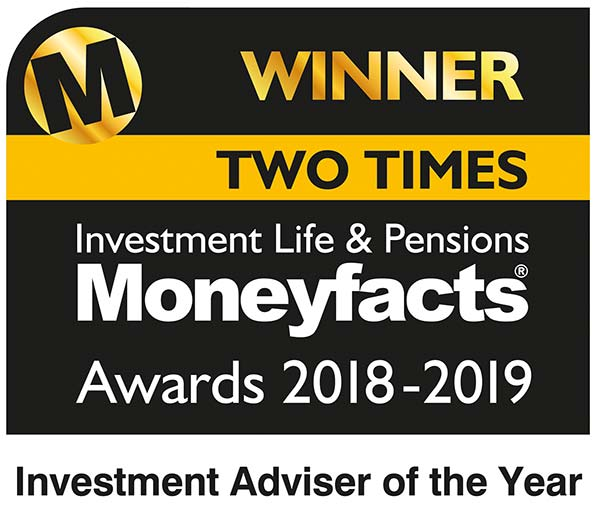 Moneyfacts award 2018 & 2019 - Investment Adviser of the year, 2 times